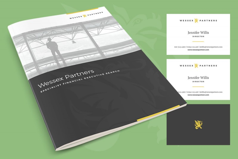 Brochure and stationery design for a specialist financial executive search company.