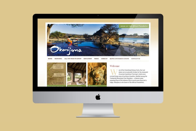 Website development and design for Okonjima, a safari lodge in Namibia and home to the Africat Foundation.