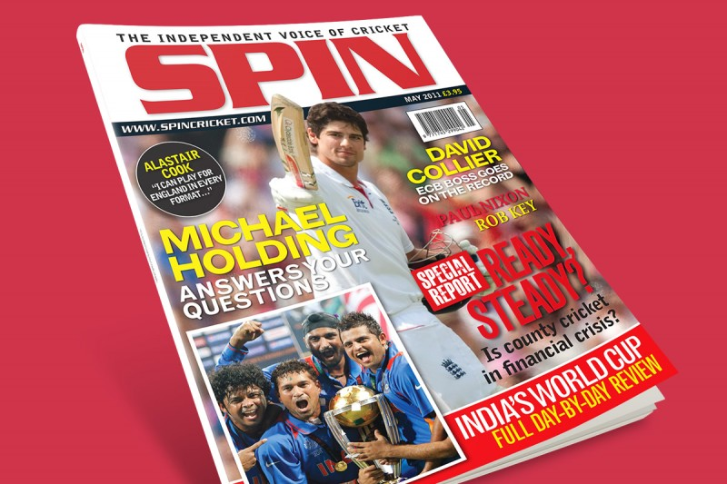 Magazine design for Spin, a cricket title.