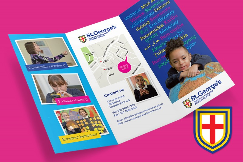 Identity and leaflet design for St. George's Primary School in Battersea, London.