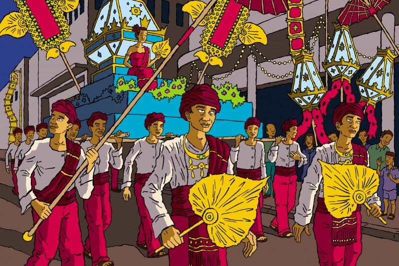 Illustration of Loi Krathong, a festival celebrated annually throughout southwestern Tai cultures.