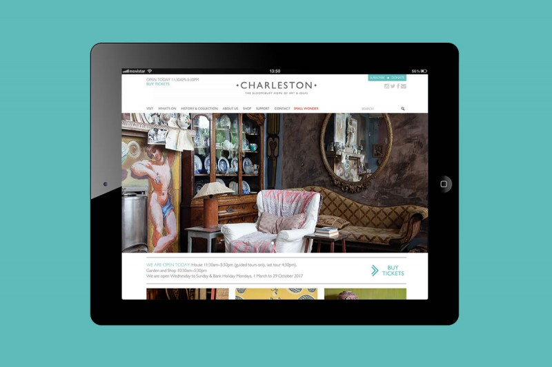 Website development for Charleston, a visitor attraction in southern England and once the country home of the Bloomsbury group. Design by Joelle Wheelwright.