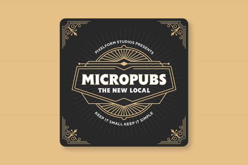 Beermat design for the launch of Micropubs, a documentary film charting the rise of new, niche drinking establishments.