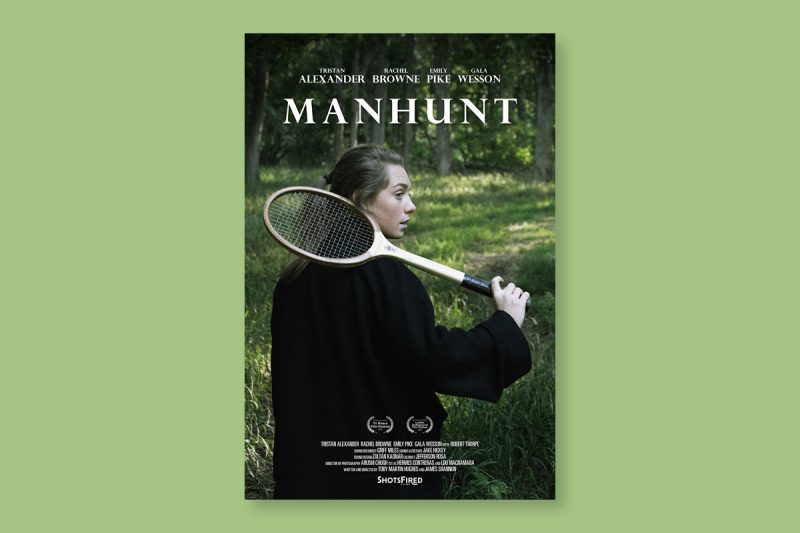 Poster design for Manhunt, a short film produced in the UK.